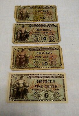 Lot of 4 Series 481 Military Payment Certificates (1951-54) 5-50 Cents, Korea