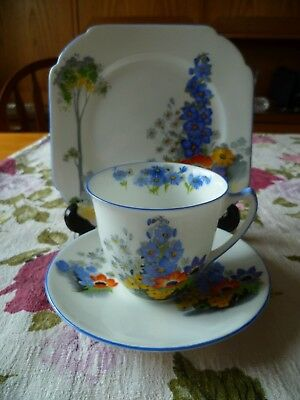 Lovely Vintage Shelley China Trio Tea Cup Saucer Strand Shape Delphinium 12217