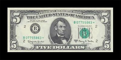 1963-A UNITED STATES FIVE DOLLARS $5 **STAR NOTE** (( aUNC ))