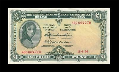 11.4.1964 Central Bank Of Ireland 1 Pound **rare** (( Ef+ ))