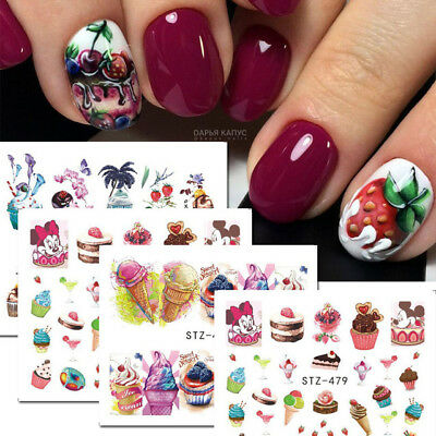 ❤️lot Économique 10 Planches Stickers Fruits Cupcakes Coktails Manucure Nail Art