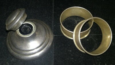 Old Sterling silver napkin rings (18 grams) and silver inkwell weighted 55 grams