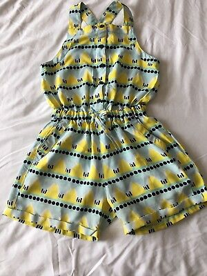 girls river island playsuit age 7 yellow turquoise shorts