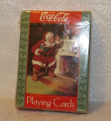 Coca-Cola 1992 Christmas Playing Cards Santa Claus Reading a note on Fireplace