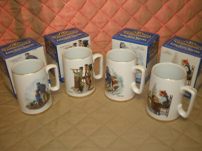 NOS - 1985 Long John Silver's Norman Rockwell Mug Tankards-Set of 4-Original Box