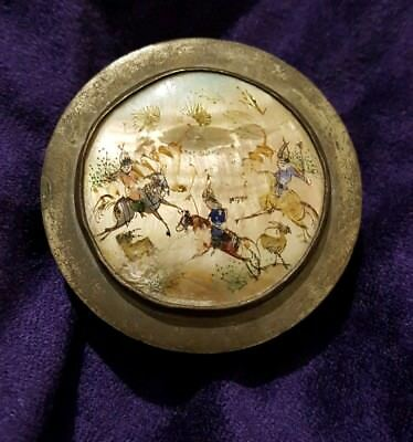 Antique Vintage Persian Mother of Pearl Storyboard snuff box Arabic Eastern art