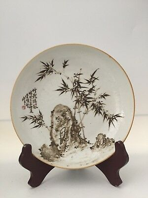 antique Chinese painted glazed BOWL  Bamboo and Mountain signed Poem