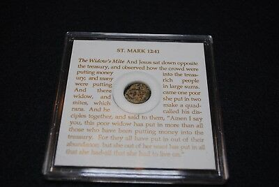 Roman Bronze Widow's Mite St. Mark 12:41 In Display Case 135 BC - 70 AD