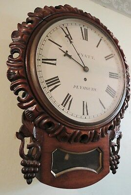 """Ornate 12"""" Drop-Dial clock. Fusée movement, c1855. Full working order. Plymouth"""