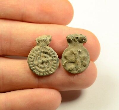 Lot Of 2 Ancient Byzantine Lead Amulets - Scarce Artifacts
