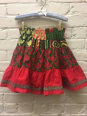 Vtg Girl 8 Jean Bourget Skirt All Cotton Colorful Tiered Embroidery Swingy