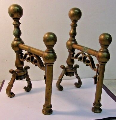 Pair of Vintage Brass Fireplace Andirons