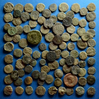 Lot of 100 Uncleaned Low Quality Roman Bronze Coins