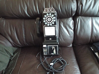 Retro Look Pay Telephone Black 1957 Public Phone Reproduction Works Fathers Day
