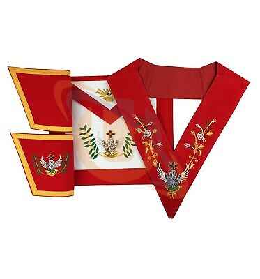 Masonic SCOTTISH RITE 18th Degree Set Apron,Collar gauntlets Hand Embroided