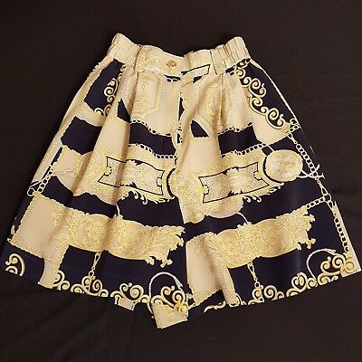 Vintage Shorts 80s Longline High Waist Lux Scarf Style Print Navy Golf Wow! | 6