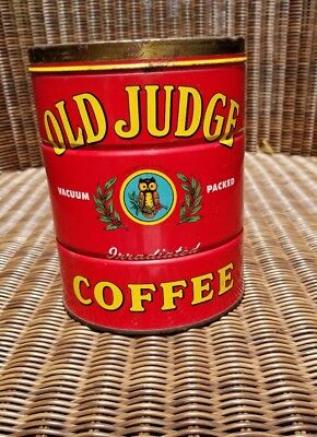 Vintage Old Judge Brand Coffee Tin Can Advertising 2 LB Size