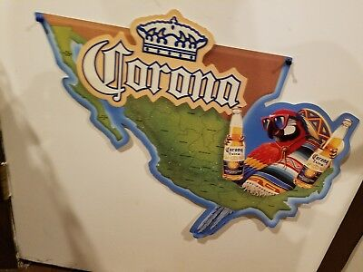Corona Parrot Mexico Map Beer Embossed Tin Sign