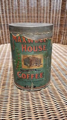 "Vintage MAXWELL HOUSE Tin Coffee Can ""GOOD TO THE LAST DROP"" 100% PURE Embossed"