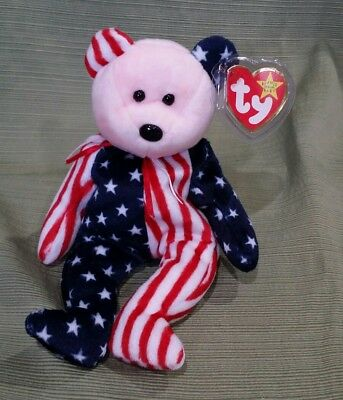 Ty Beanie Baby Spangle the Pink/Red Face Bear  MWMT 1999 Retired