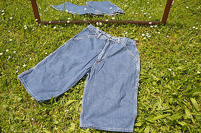 RIFLE Designer High Waist Vtg 80s Blue Denim Shorts Pants Jeans Unisex sz 29 Q42