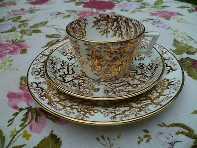 Lovely Vintage / Antique English China Trio Tea Cup Saucer Plate Gilded