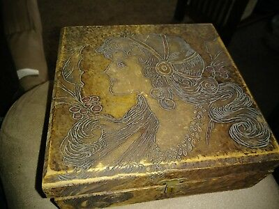 Antique Hand Carved Decorated Wooden Box dated 1907