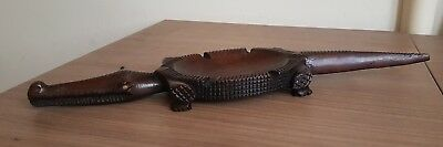 Antique Fine African Art Quality Wooden Carved Benin Crocodile Ashtray 12""