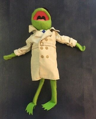 Kermit The Frog Dress Up Plush Toy Trench Coat Hat-Vintage 1981 Fisher Price 857