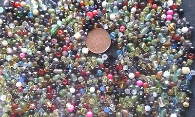 Job lot of small mixed sized glass beads over 100 grams CLEARANCE SALE