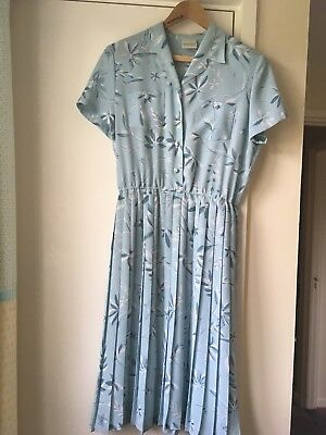 Eastex Vintage 1950's-1940's Blue Leaves Print Floaty Button Tea Dress 12