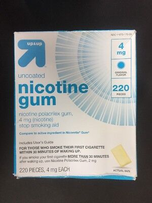 NIB Up & Up Uncoated Nicotine Gum 4mg Stop Smoking Aid 220 Pieces Exp 01/2019