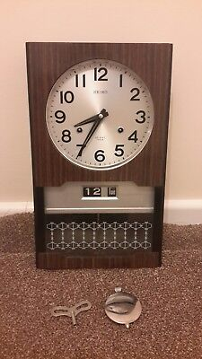 Vintage Seiko Retro 30 Day Chime Wall Clock Japan Day/Date