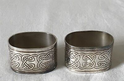 Pair of Unboxed Matching Silver Plated Celtic Design Napkin Rings