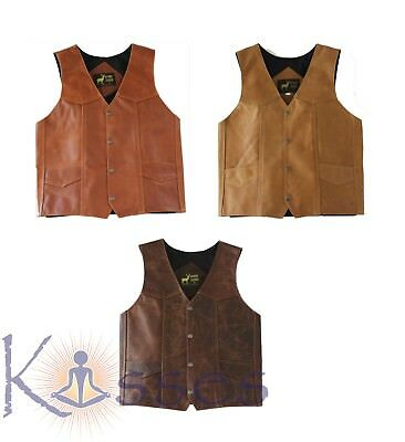 NEW Men's Western Leather Vest Genuine Cowhide Outback Biker Snap Cowboy Mexico