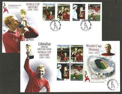 GIBRALTAR 2002 WORLD CUP FOOTBALL ENGLAND 66 SET & M/S FDC's COVERS