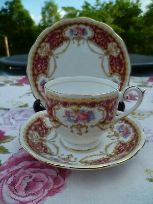 Pretty Vintage Queen Anne English China Trio Tea Cup Saucer  Red Regency