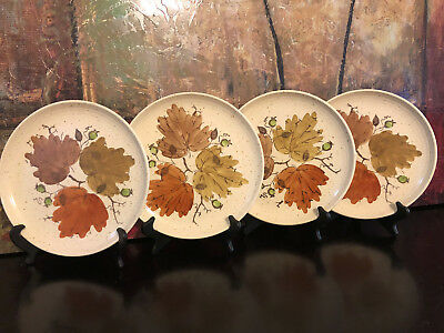 4 Metlox Poppytrail Woodland Gold Dinner Plates Leaf California Pottery Vintage
