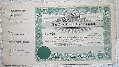 EARLY 1900's WHAT CHEER IOWA ELECTRIC LIGHT COMPANY STOCK CERTIFICATE