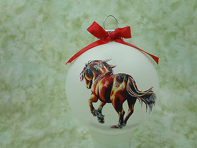 H060 Hand-made Christmas Ornament - horse - fire red mystical friesian