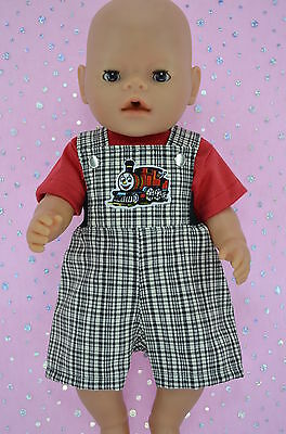 """Play n Wear Doll Clothes To Fit 17"""" Baby Born CHECK BIB DUNGAREE~T-SHIRT"""