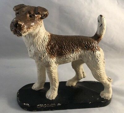 Vintage Cast Iron Wire Or Fox Terrier Dog Figure