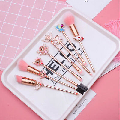 8pcs Card Captor Sakura Clear Cards Makeup Cosmetic Foundation Brush Wands