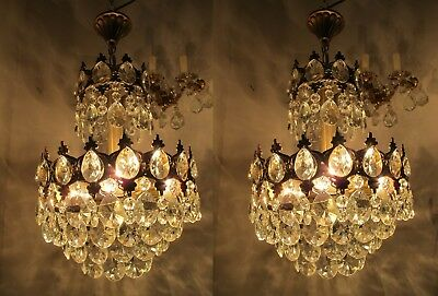 Pair Of Vnt French Basket Style Crystal Chandelier Lamp light 1940s 12in diametr