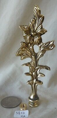 "Lamp Finial Vintage Polished Cast Brass Floral Pattern 5 3/8"" h x 2""w (RA)"