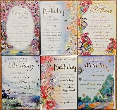 Pack of 6 Male Female Birthday cards, Inspirational Sentimental Verse cards ///