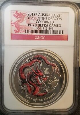 2012	P	Australia S$1 Year Of The Dragon   Colorized	Pf 70 Ultra Cameo