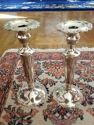 Mueck sterling silver candlesticks -10inch