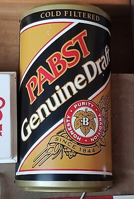 Pabst Genuine Draft/ Pabst Blue Ribbon lighted beer can sign