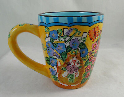 "Catzilla Candace Reiter 2004 Cat Tall Mug 4 1/2"" Tall Hand Painted Mint Cond."